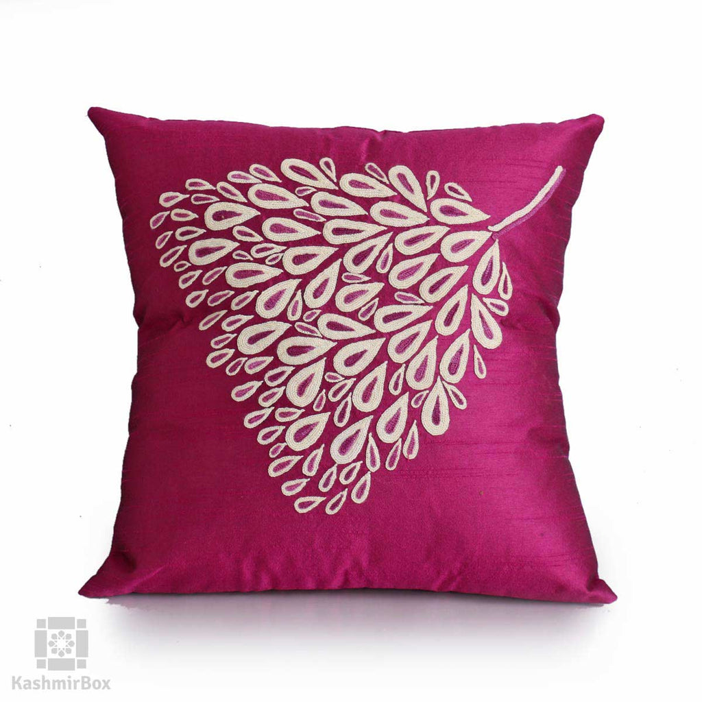 Magenta Pearl Drop Handcrafted Silk Cushion Cover