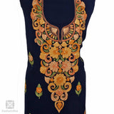 Navy Blue Flowered Aari Georgette Suit