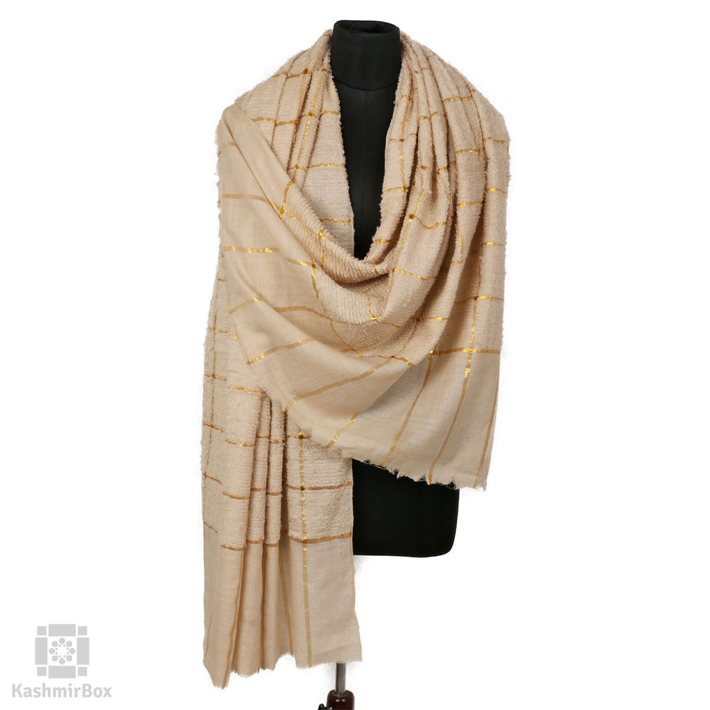 White Zari Check Towel Pashmina Shawl