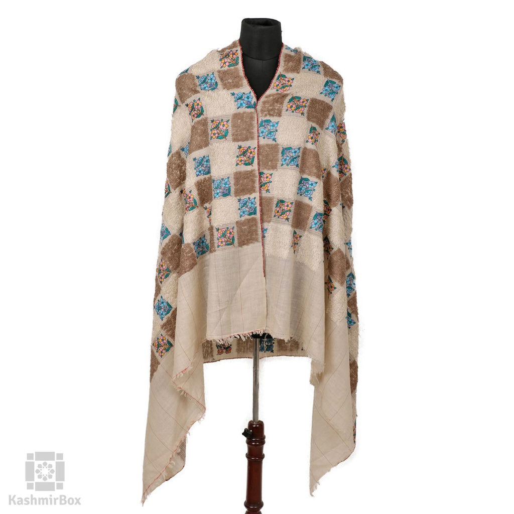 White Flowered Papier Mache Pashmina Towel Shawl