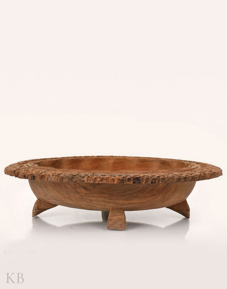 Handcrafted Narcissus Engraved Walnut Wood Bowl