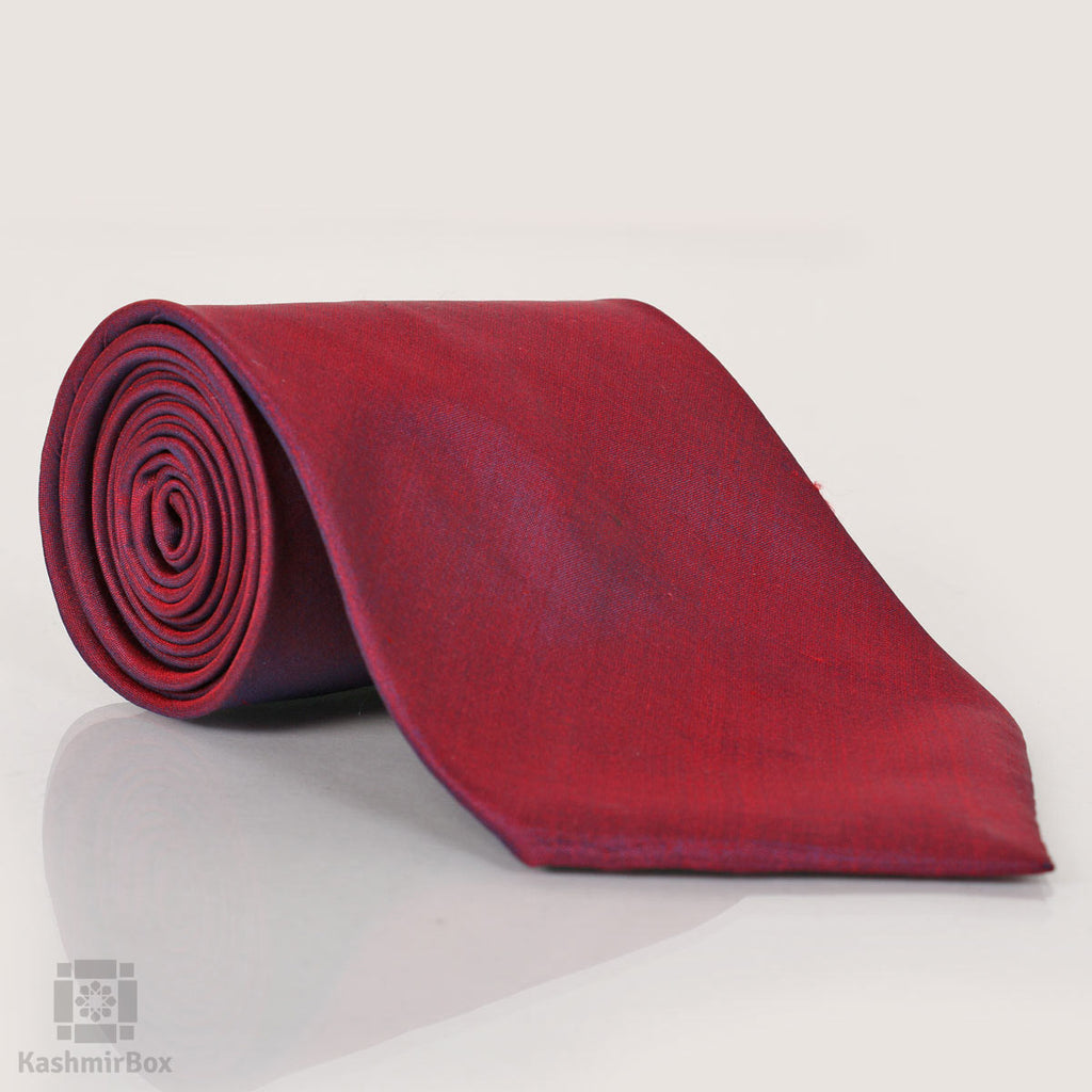 Jam Purple Solid Luxury Silk Tie - Kashmir Box