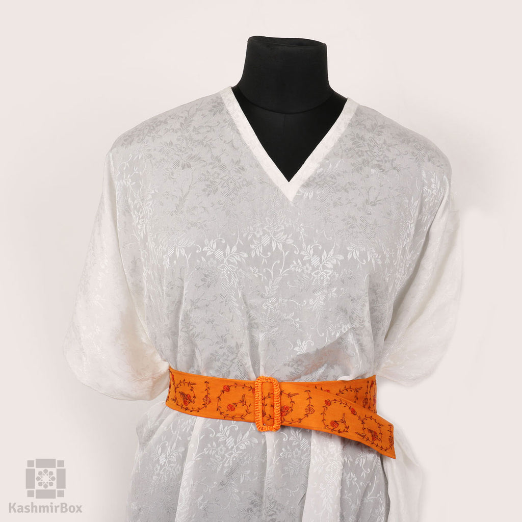 Fire Orange Sozni Floral Belt