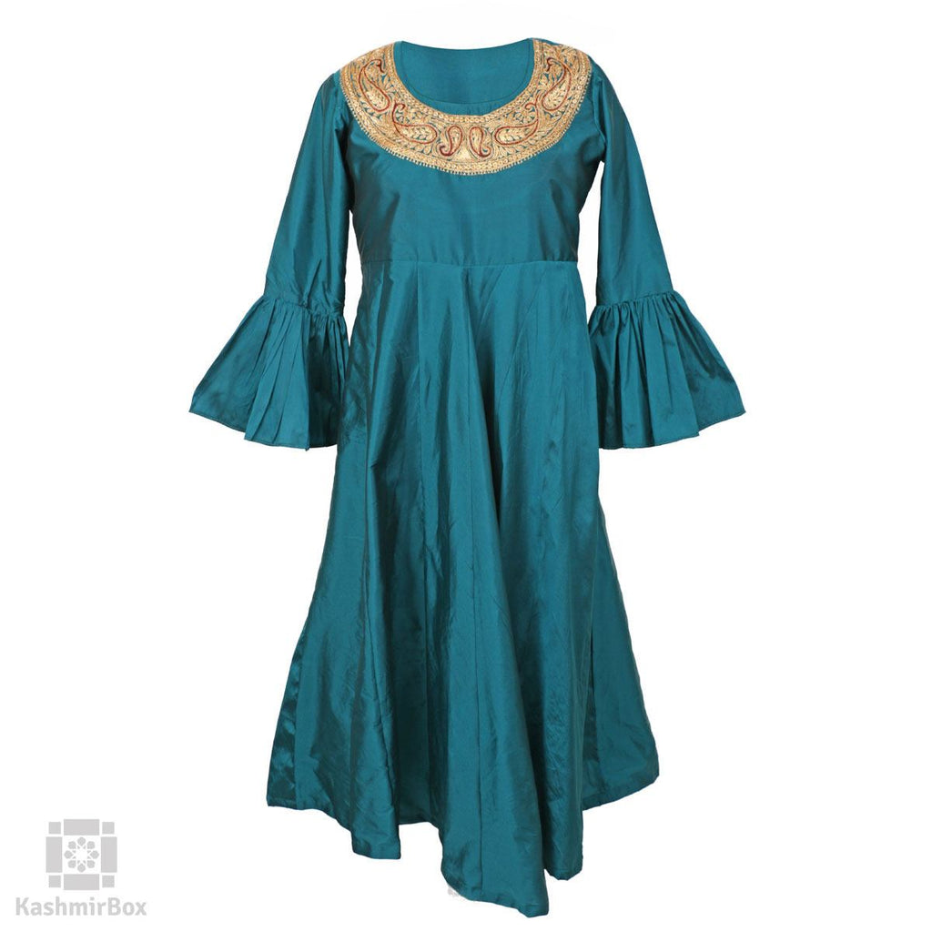 Deep Green Necklaced Tilla Paisley Pure Silk Gown - Kashmir Box