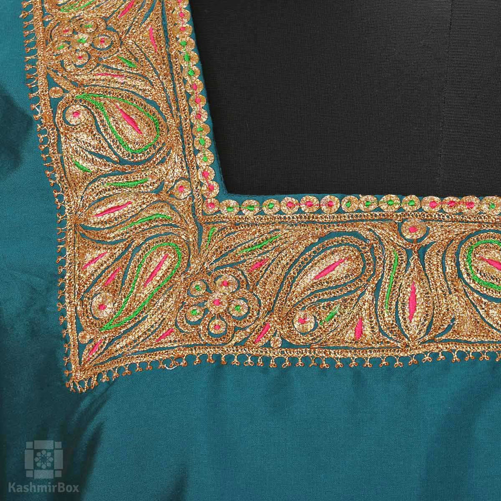 Deep Green Tilla Embroidered Paisley Pure Silk Suit - Kashmir Box