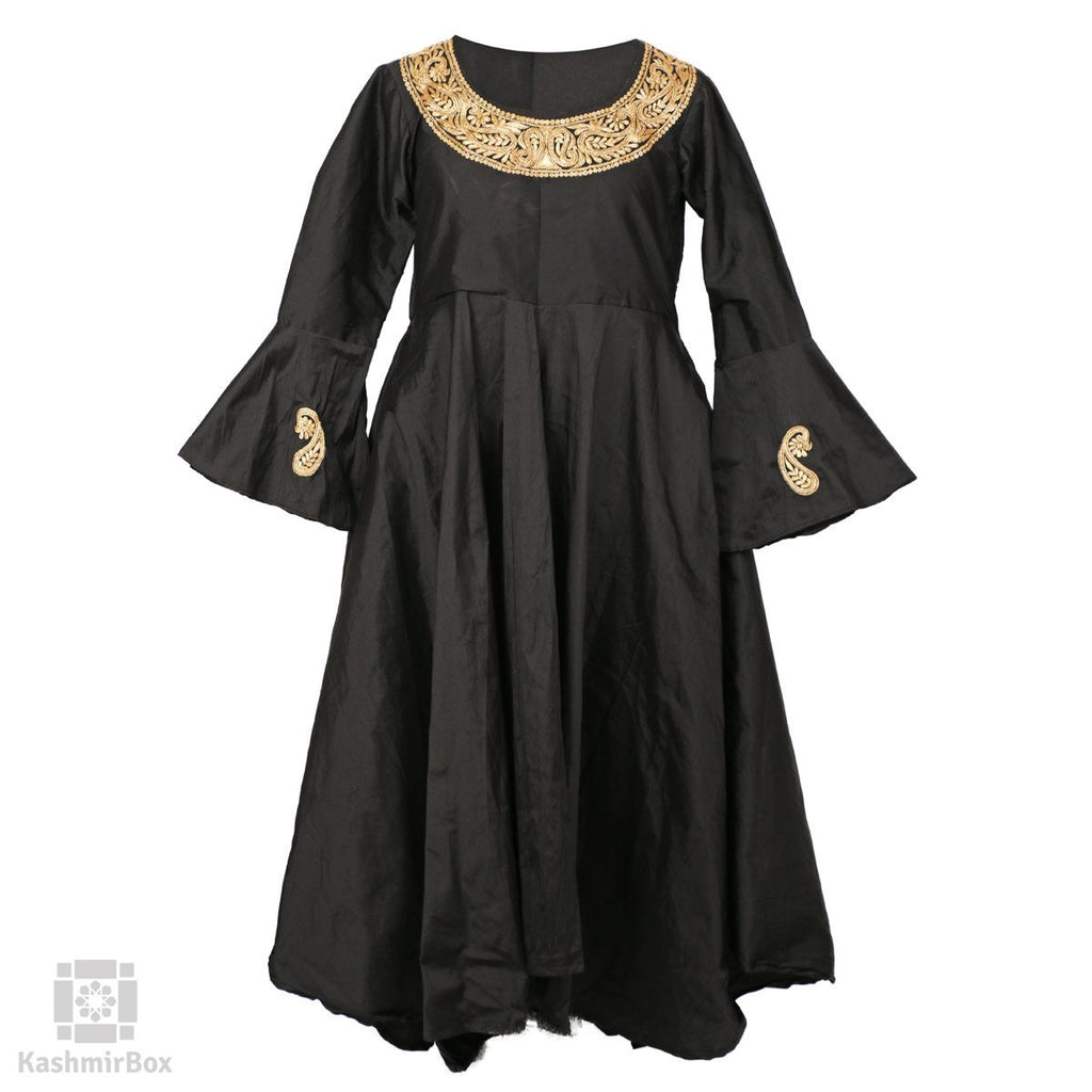 Jade Black Flared Tilla Paisleyed Silk Suit - Kashmir Box
