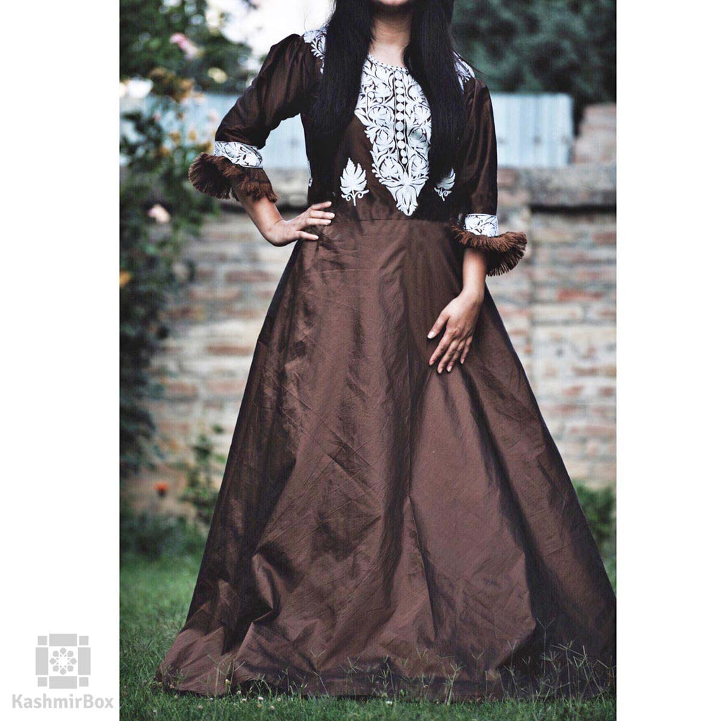 Brunette Brown Chinar Aari Silken Gown