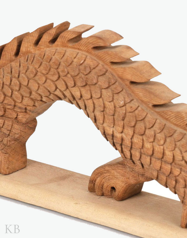 Walnut Wood Carved Dragon Sculpture