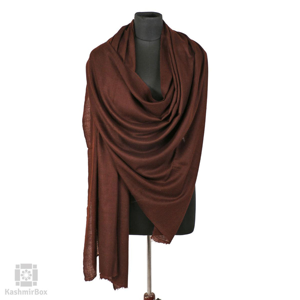 Hickory Brown Solid Styled Cashmere Pashmina Shawl - Kashmir Box