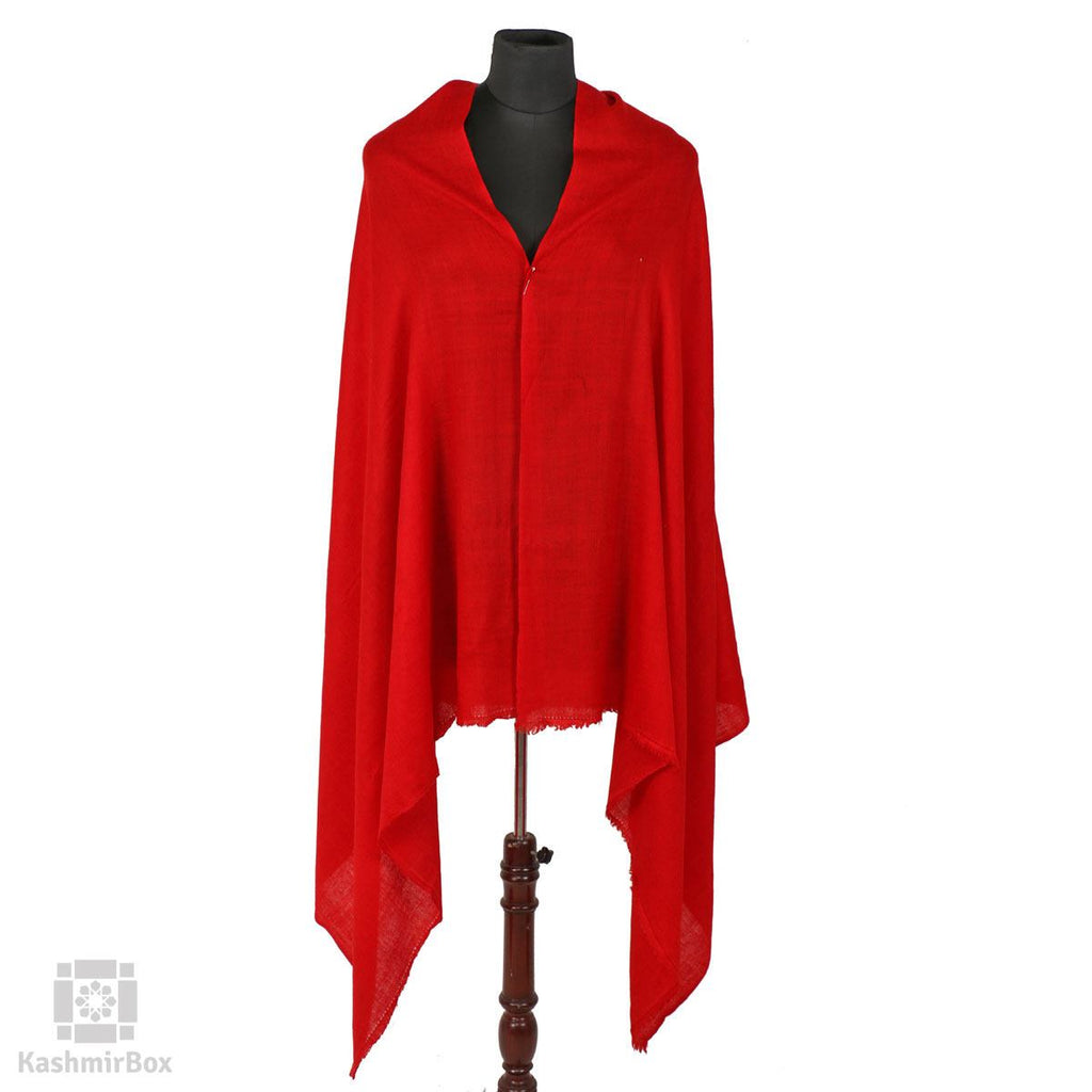 Candy Red Solid Styled Cashmere Pashmina Shawl - Kashmir Box