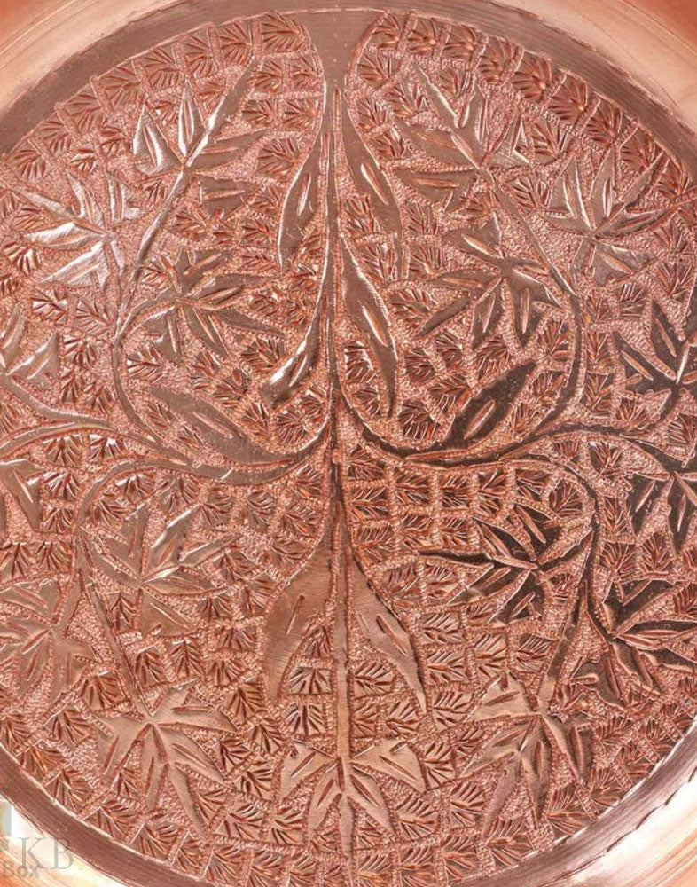 Round Chinar Motif Serving Plate - Kashmir Box