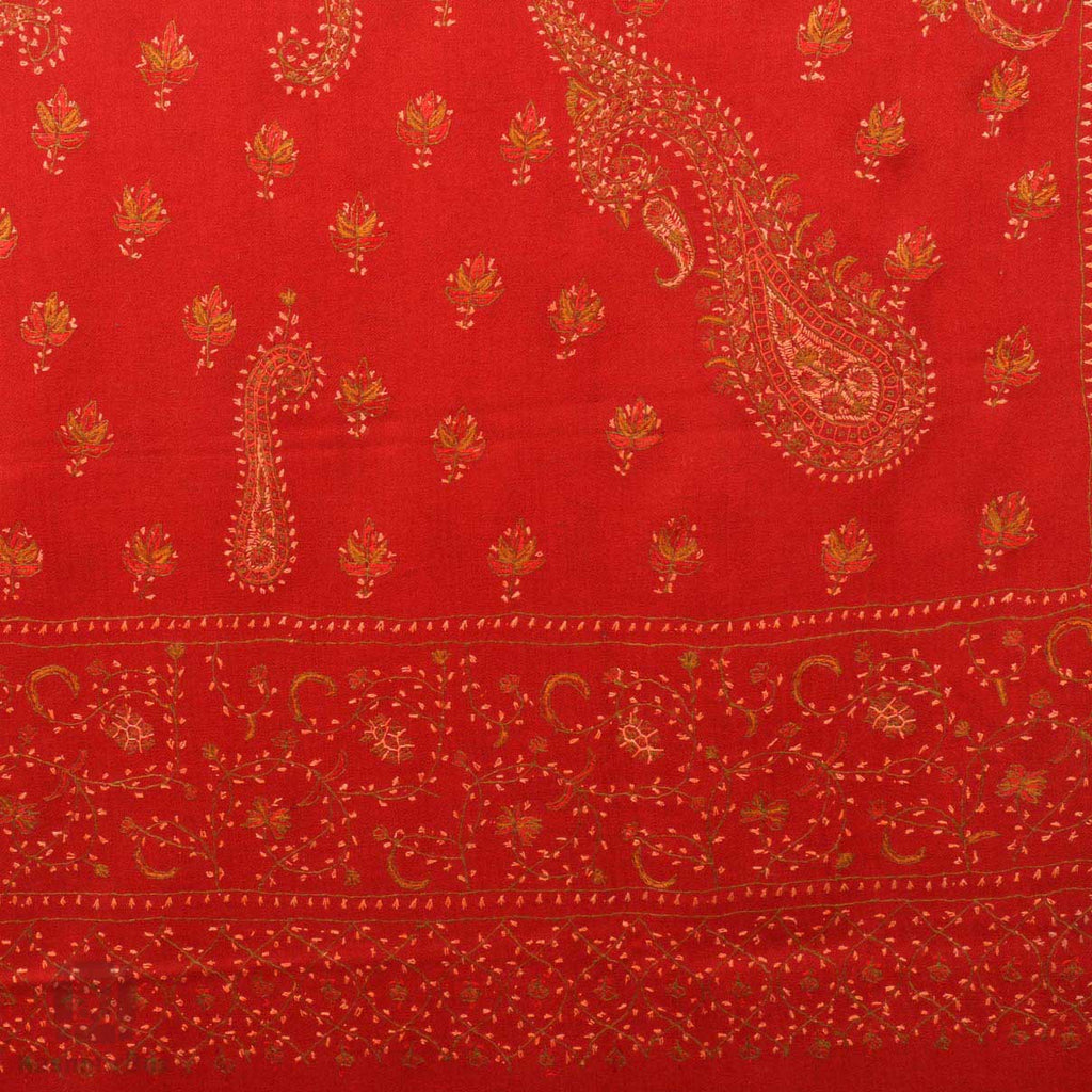 Rose Red Sozni Embroidered Woollen Shawl