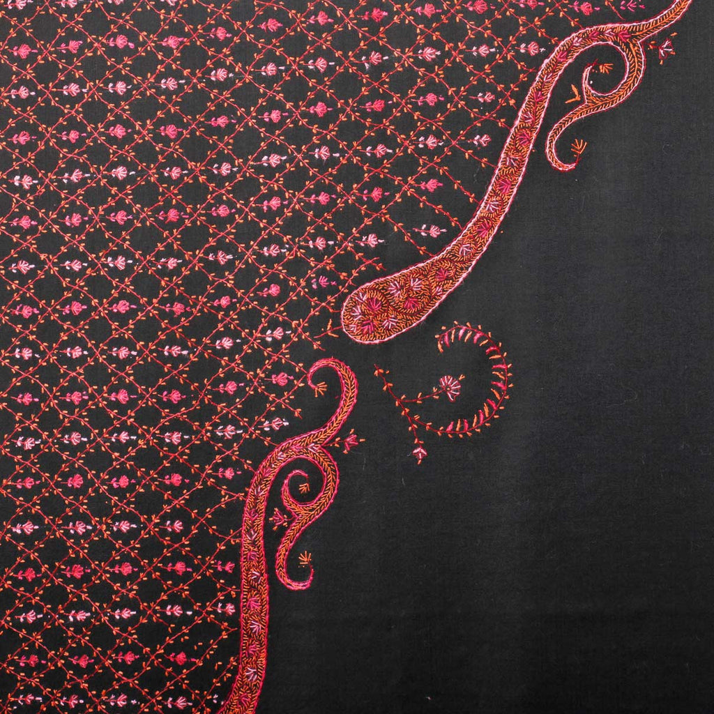 Metal Black Paisley Sozni Embroidered Woollen Shawl