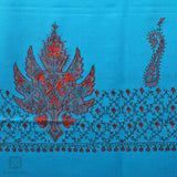 Cerulean Blue Sozni Embroidered Woollen Shawl