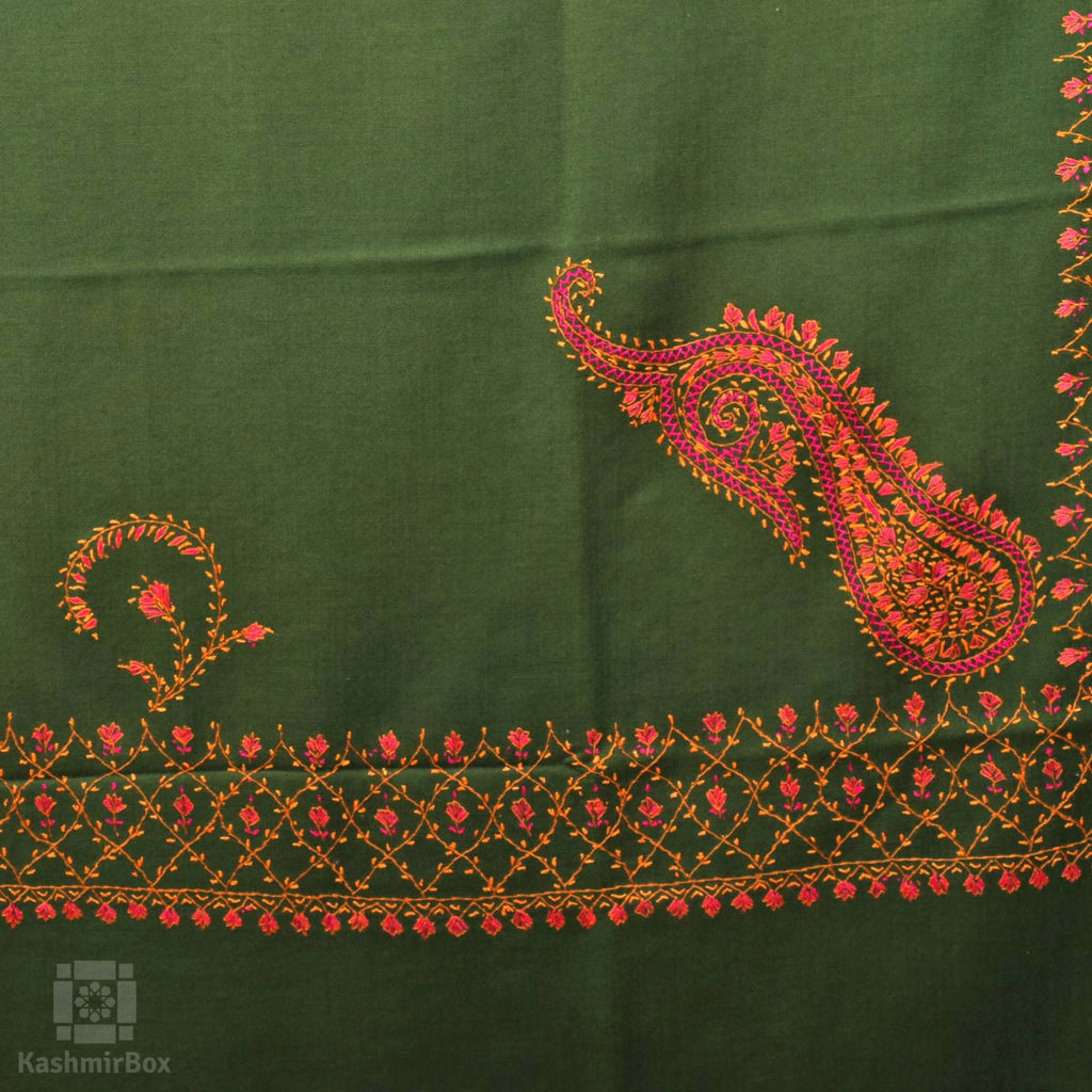 Basil Green Sozni Embroidered Woollen Shawl