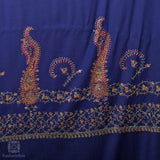 Berry Blue Sozni Embroidered Woollen Shawl