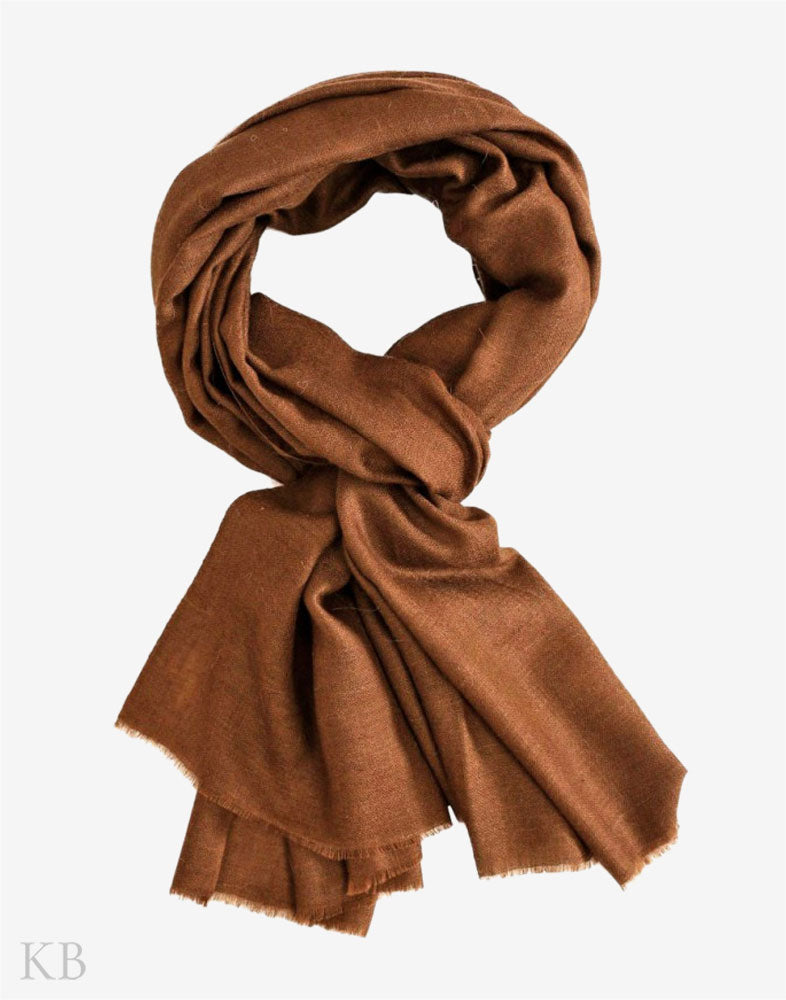 GI Certified Pecan Brown Solid Cashmere Pashmina Stole