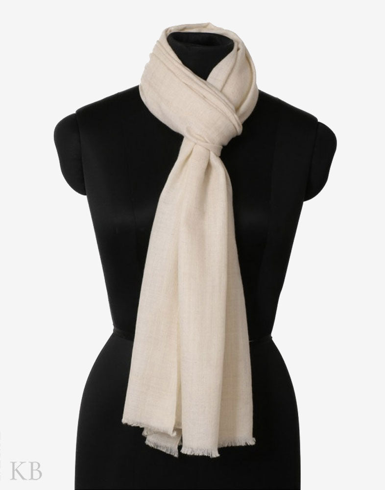 GI Certified Natural White Solid Cashmere Pashmina Stole - Kashmir Box