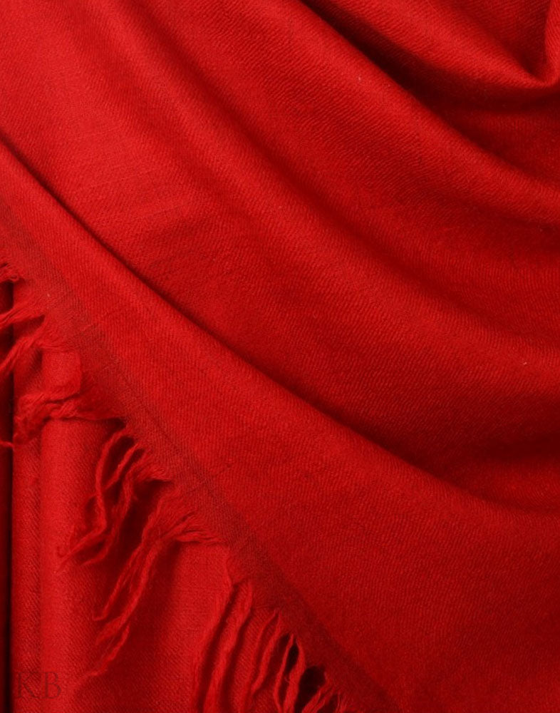 GI Certified Red Solid Cashmere Pashmina Shawl