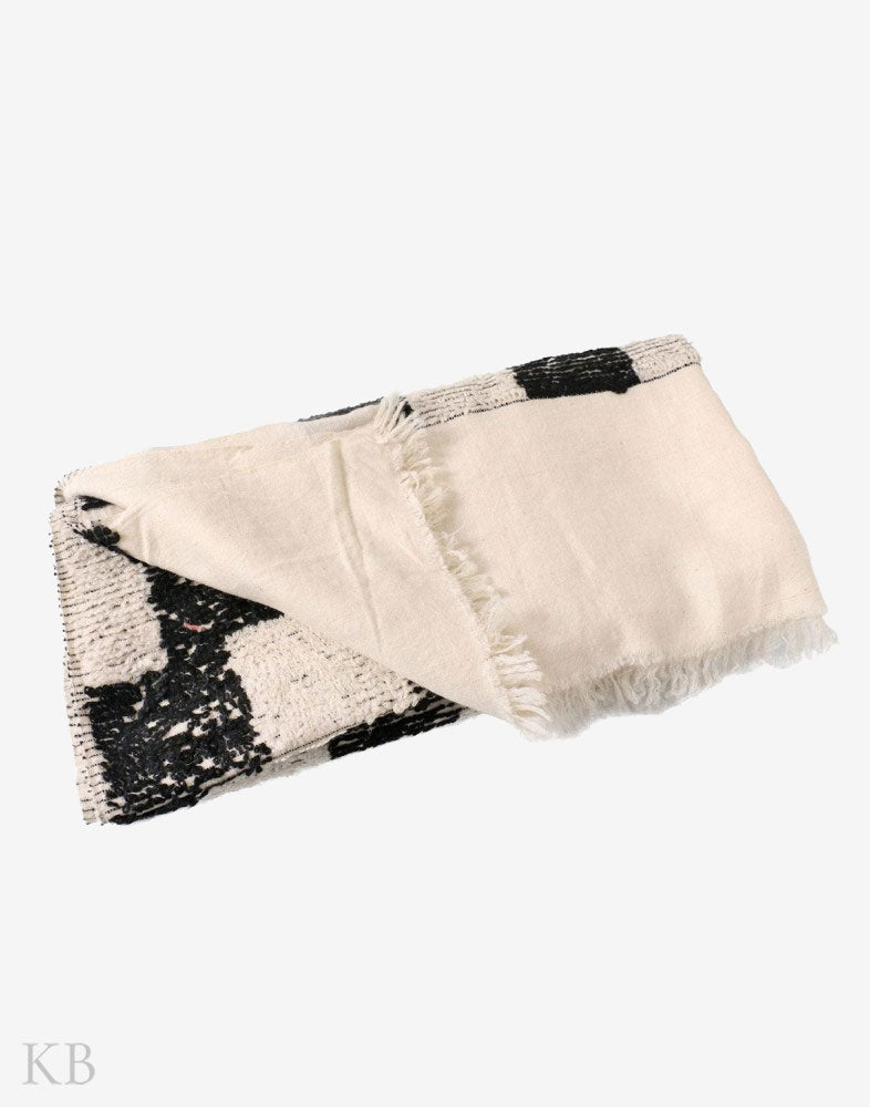 GI Certified Plaided Handwoven Cashmere Pashmina Towel Shawl