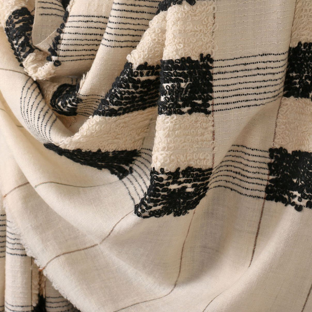 Parchment White Black Check Towel Pashmina Shawl