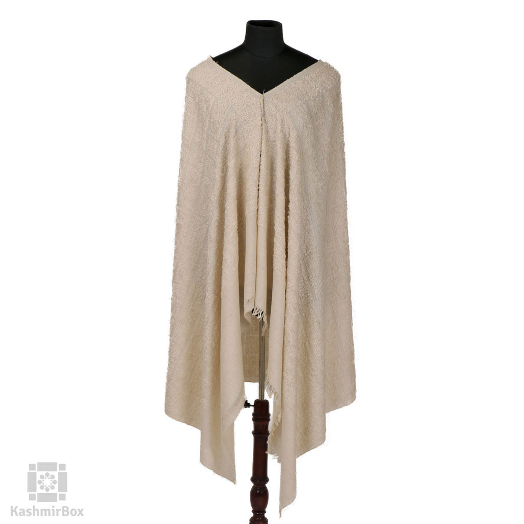 Cream White Plaided Towel Pashmina Shawl