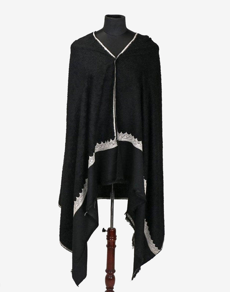 Black Tilla Bordered Towel Pashmina Shawl