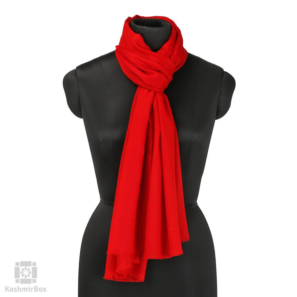 Rose Red Solid Woolen Stole - Kashmir Box