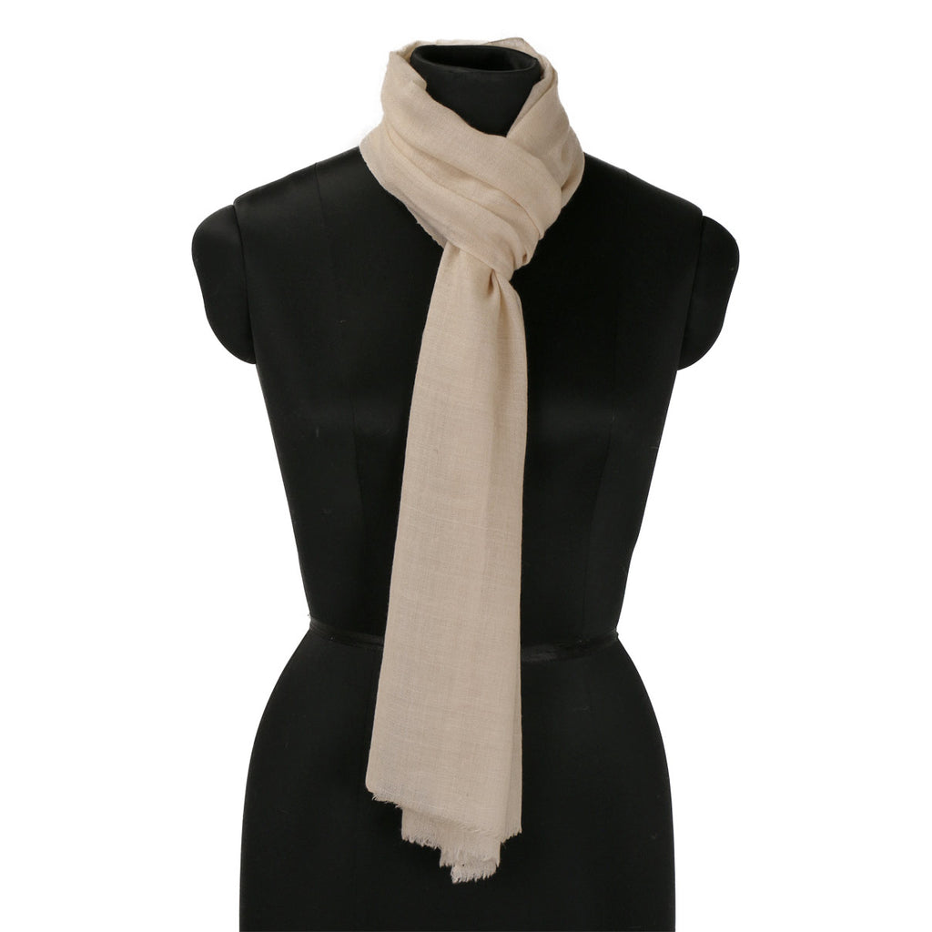 Off White Handwoven Solid Cashmere Pashmina Scarf