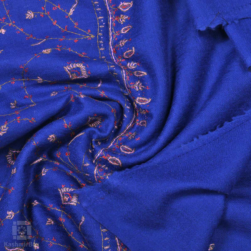 Navy Blue Sozni Embroidered Jaaldar Woolen Shawl
