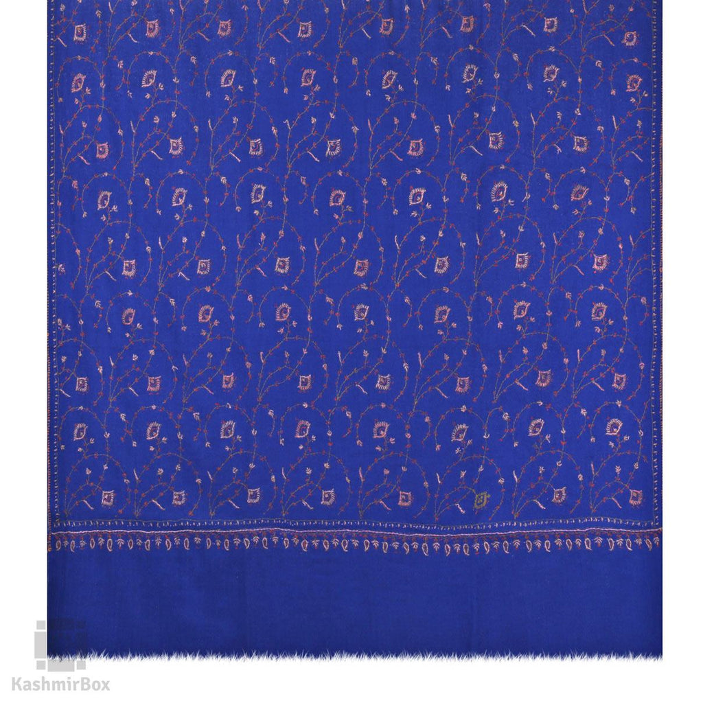 Navy Blue Sozni Embroidered Jaaldar Woolen Shawl - Kashmir Box