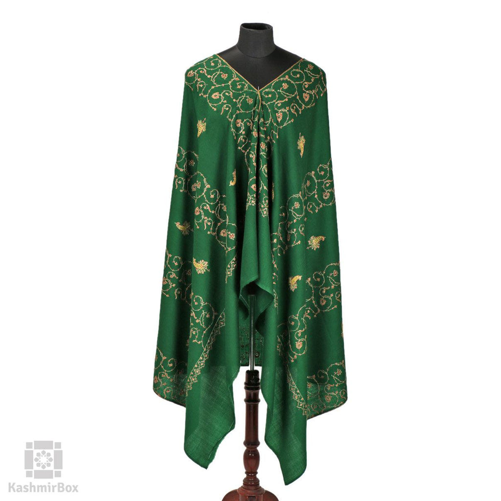 Basil Green Sozni Embroidered Paisley Woolen Shawl