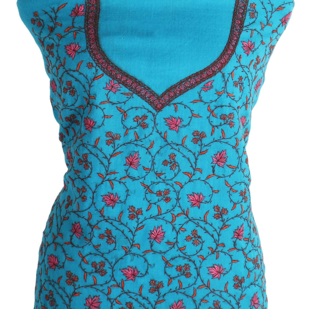 Sky Blue Chinar Sozni Hand Embroidered Woolen Suit