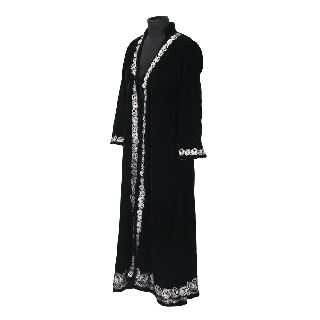 Black Spiral Tilla Embroidered Velvet Gown