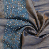 Dual Toned Aari Embroidered Pearly Silk Stole