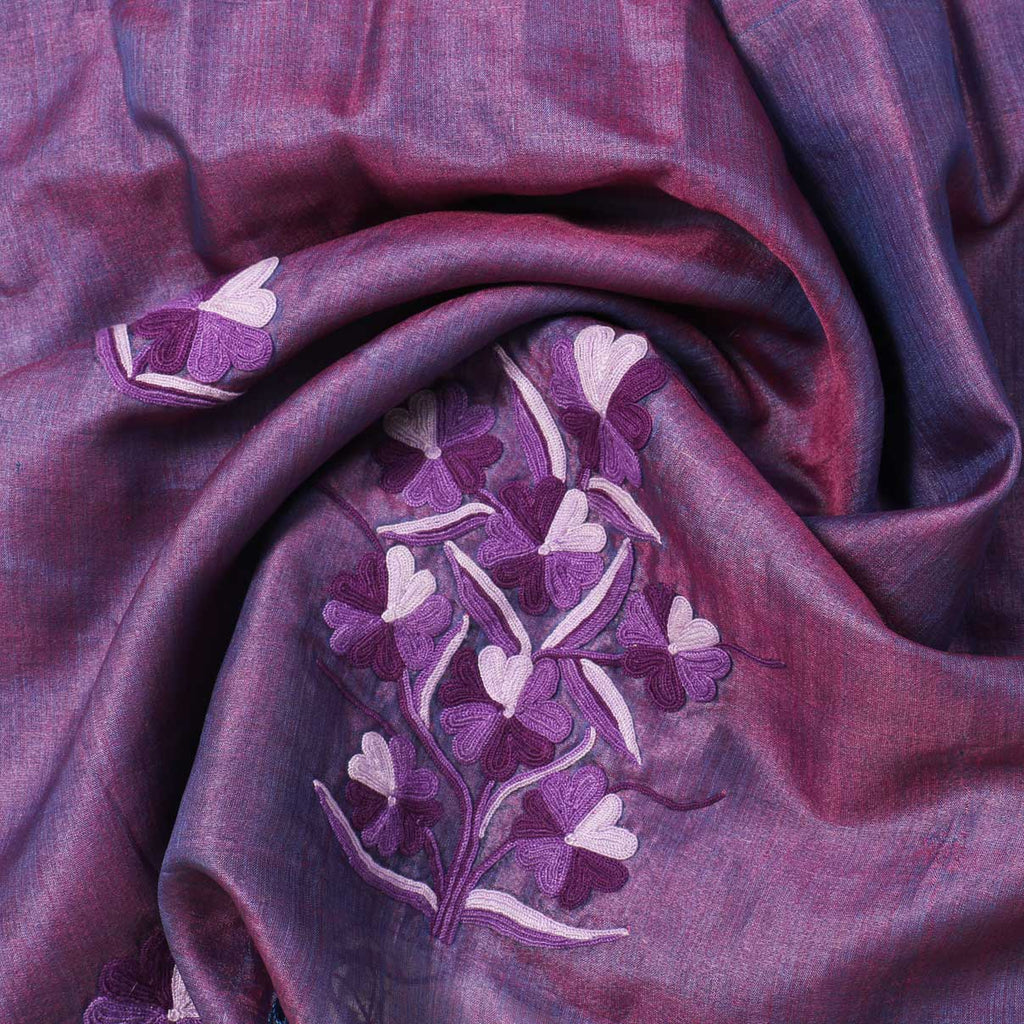 Dual Shaded Aari Embroidered Silk Stole - Kashmir Box