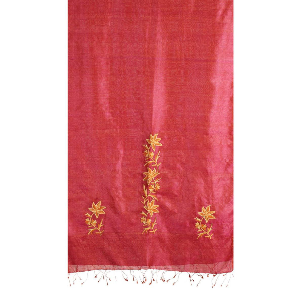 Double Shaded Aari Embroidered Silk Stole - Kashmir Box