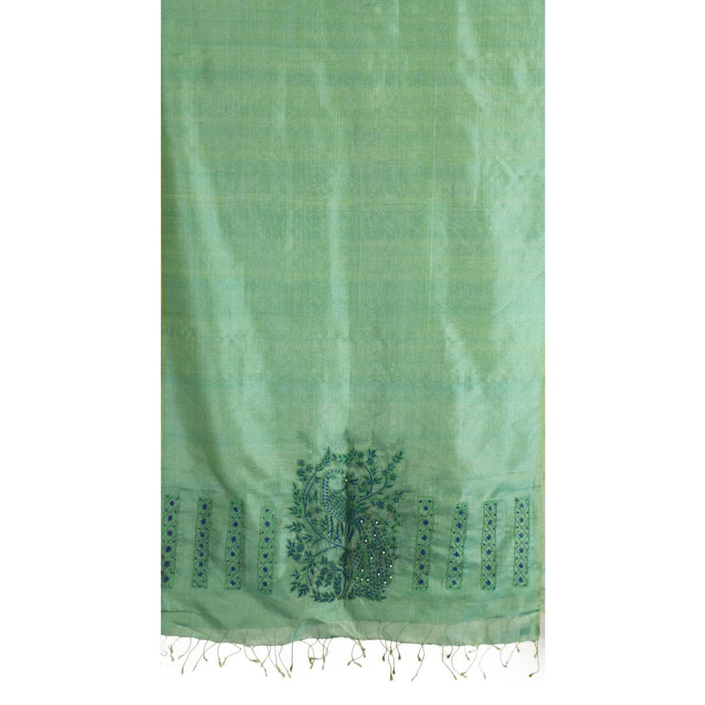 Green Peacock Soziyaan Embroidered Silk Stole