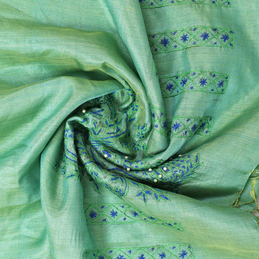 Green Peacock Soziyaan Embroidered Silk Stole - Kashmir Box