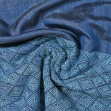 Blue Aari Embroidered Pearly Silk Stole