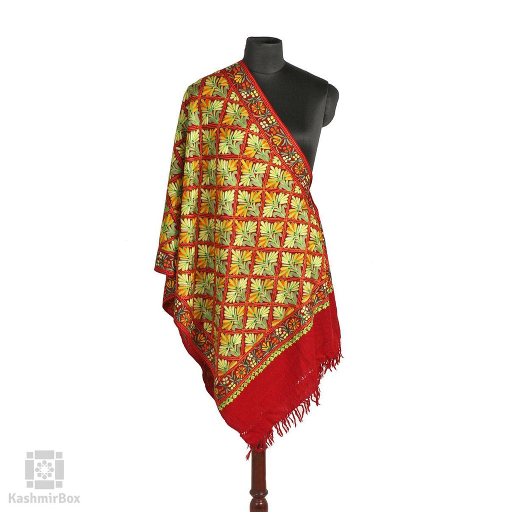 Ruby Red Floral Plaid Aari Embroidered Woolen Stole