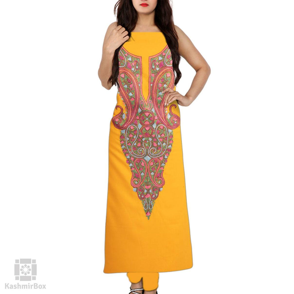 Fire Yellow Hand Aari Embroidered Cotton Suit