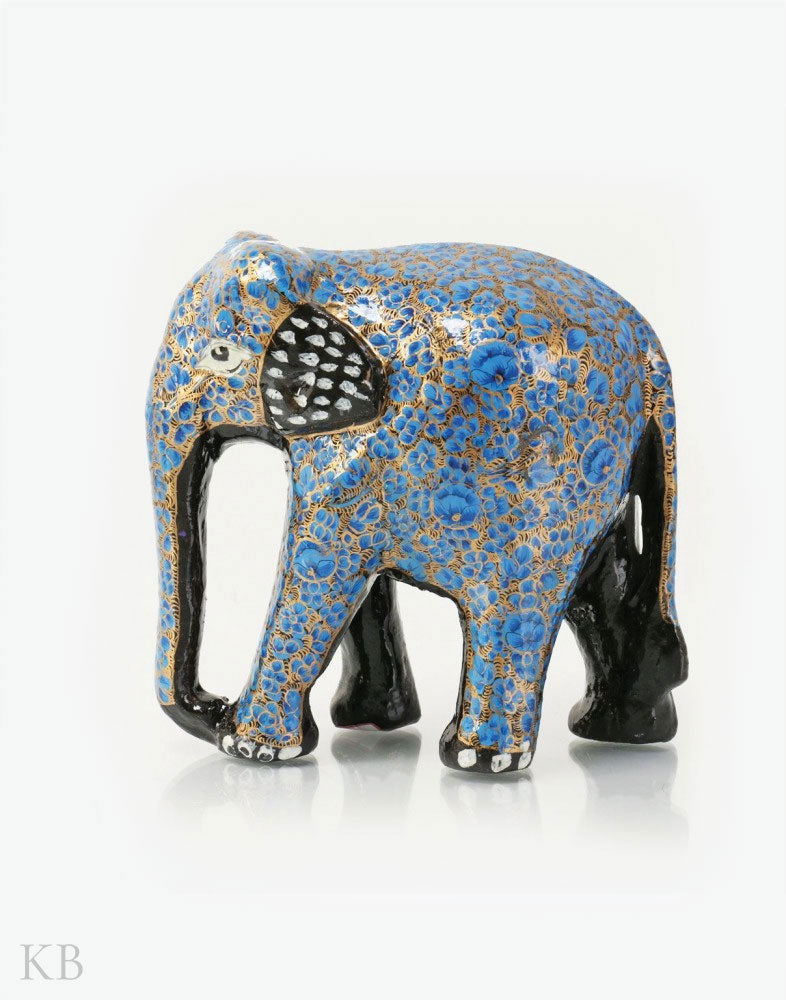 Blue Floral Paper Mache Elephants (Set of 3) - Kashmir Box