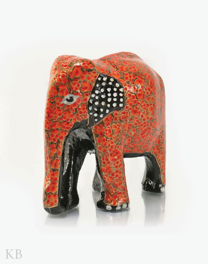 Red Floral Paper Mache Elephants (Set of 3) - Kashmir Box