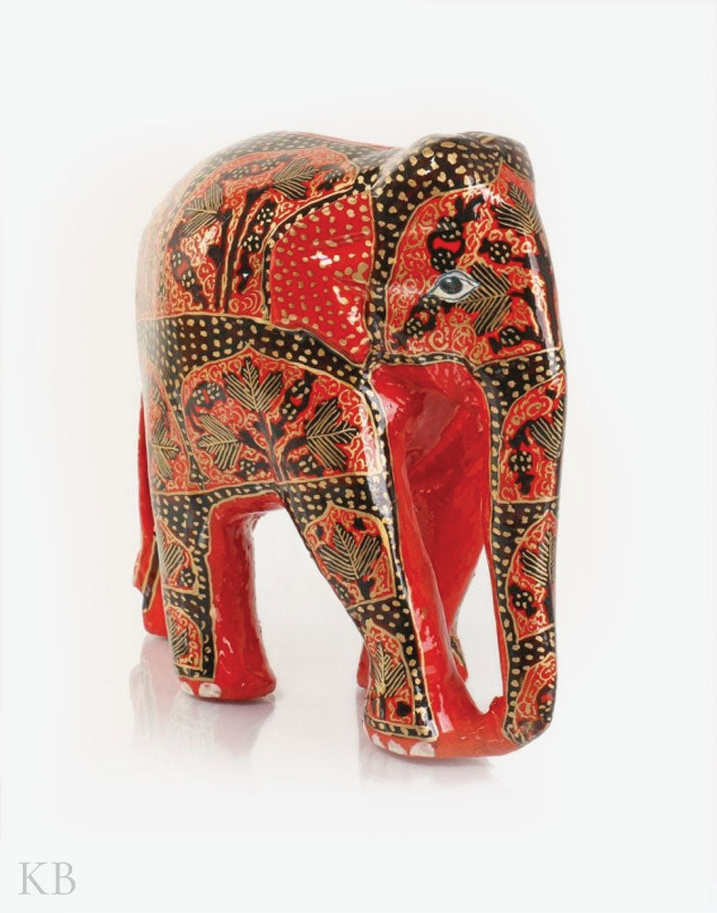 Crimson Red Handmade Paper Mache Elephant - Kashmir Box