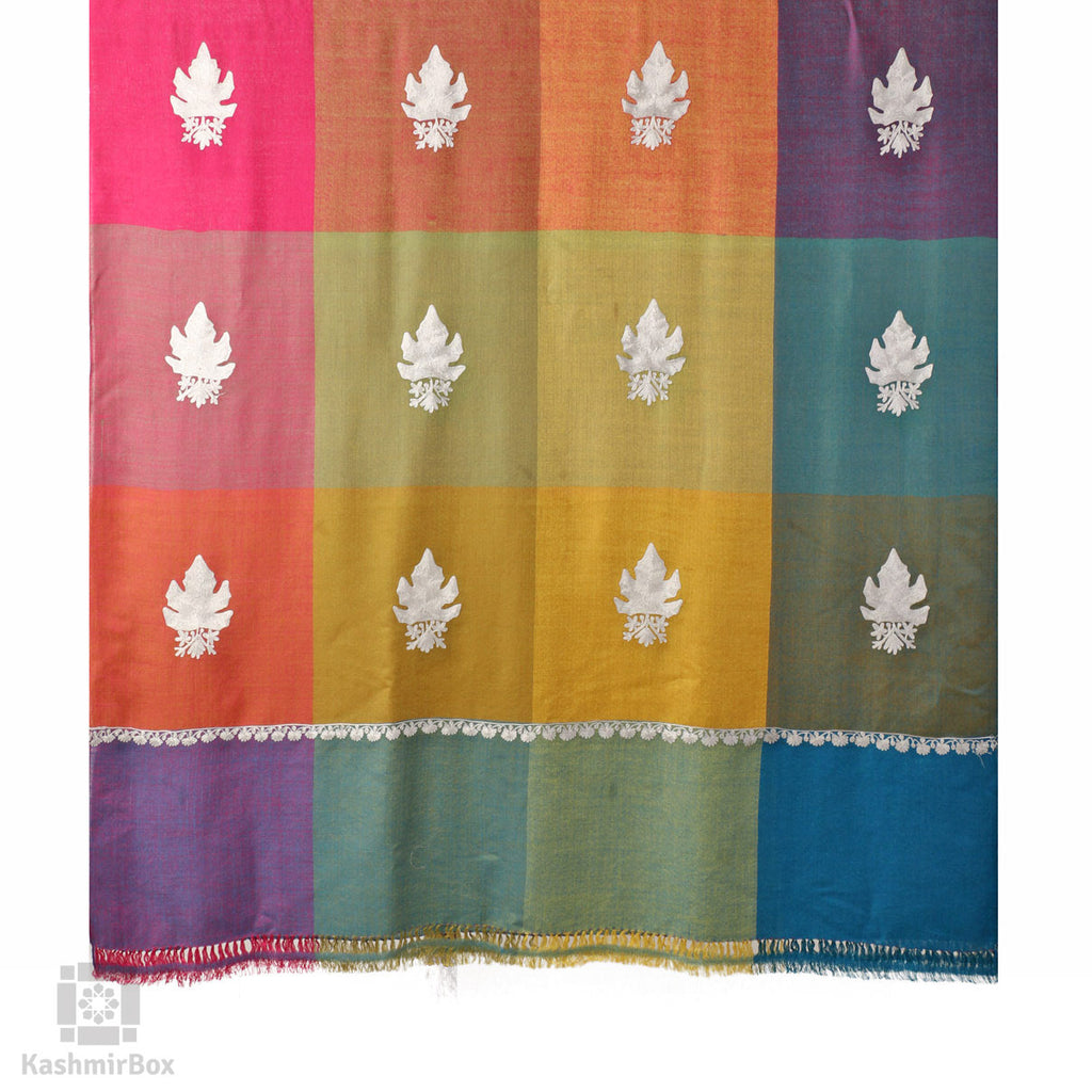 Multicoloured Tartan Aari Kari Chinar Shawl