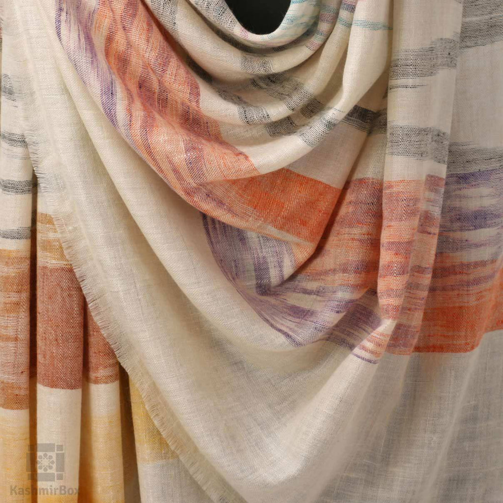 Cream White Ikat Weave Pashmina Shawl