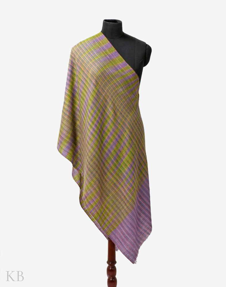 Dual Shaded Handwoven Ikat Pashmina Stole