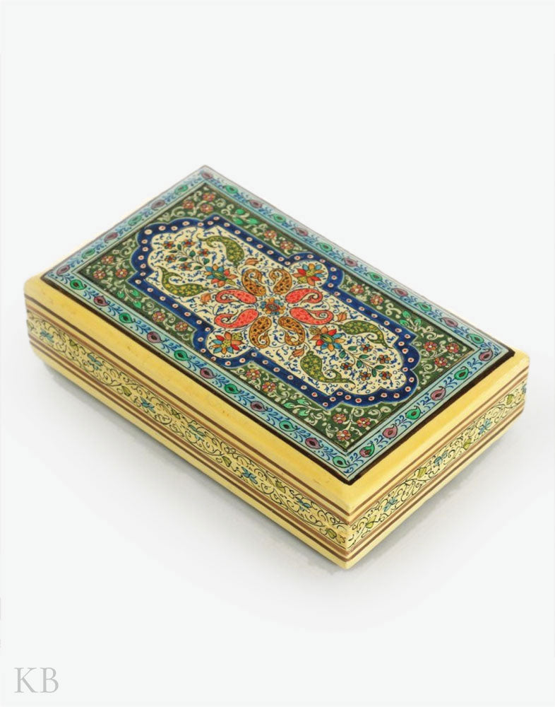 Multicoloured Paisley Flower Paper Mache Box