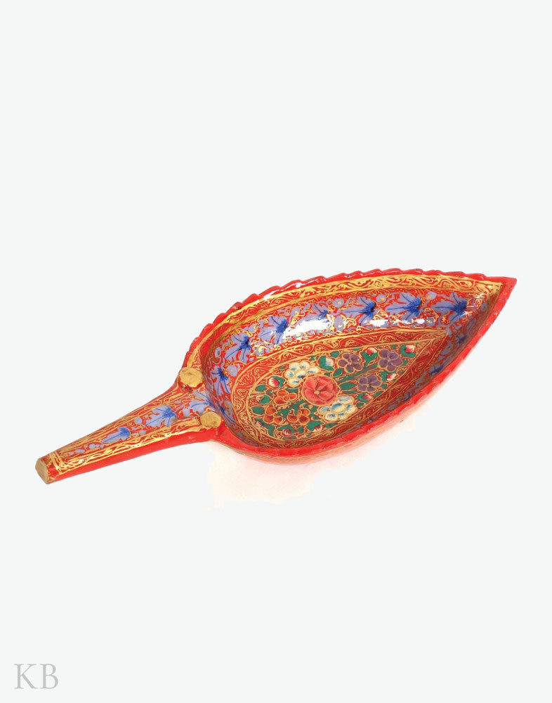 Red Walnut Wood Paper Mache Leaf Shaped Bowl